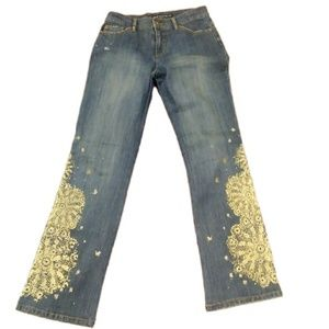 Gold Glitter Embellished Boot Flare DKNY Jeans